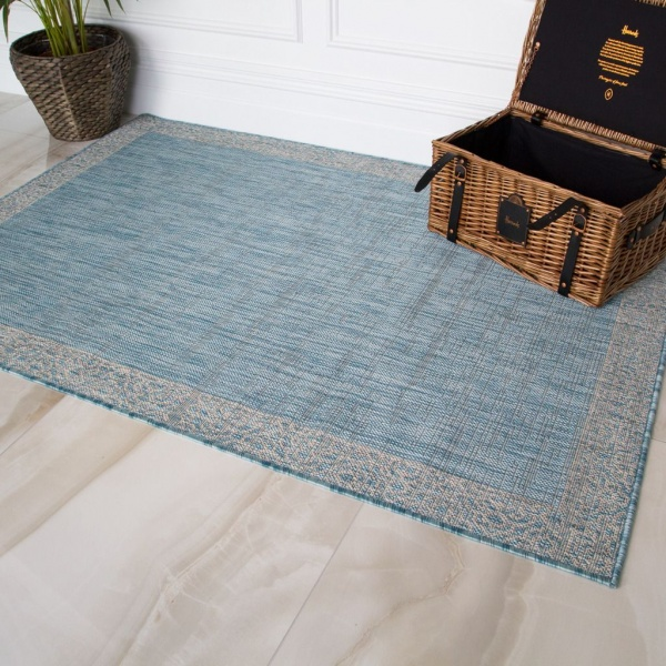 Aqua Boarder Outdoor Rug - Habitat