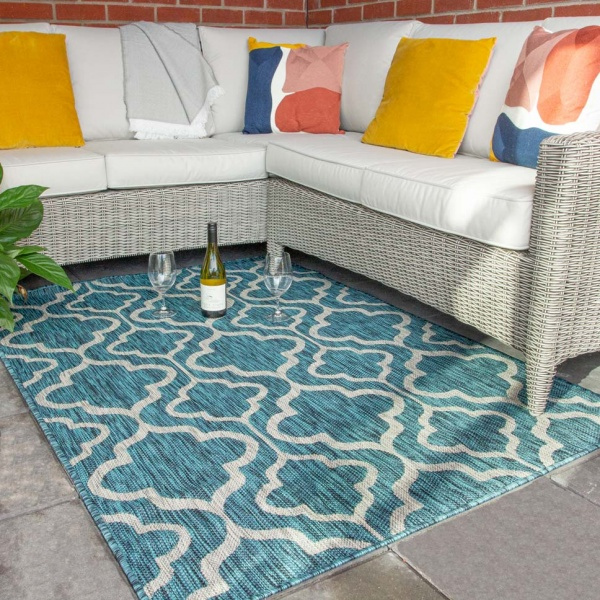 Blue Trellis Indoor Outdoor Waterproof Rugs  - Habitat