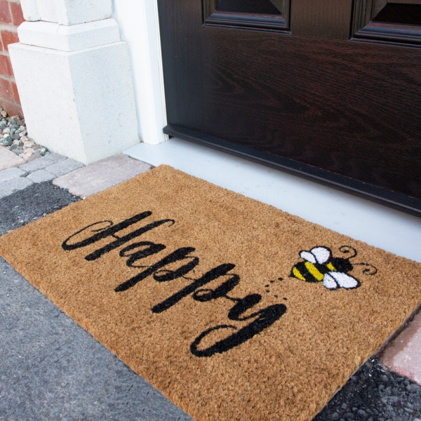 Bee Print Coir Outdoor Entrance Doormat - Coir