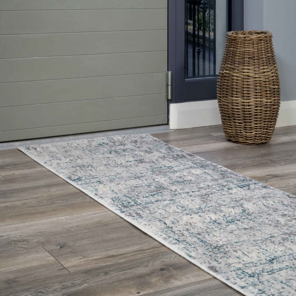 Modern Abstract Distressed Hall Runner Rugs in Blue Aqua - Hatton