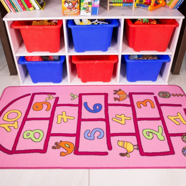 Pink Hopscotch Kids Rug