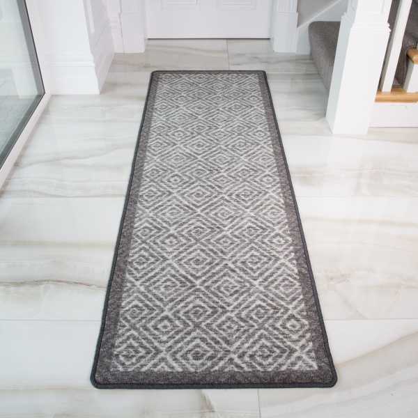 Moroccan Grey Washable Non Slip Runner Rug