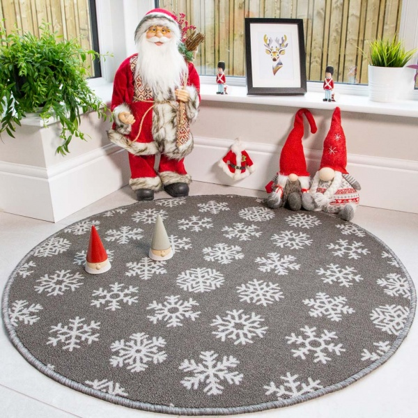 Circle Round Grey Snowflake Christmas Tree Base Mat - Luna