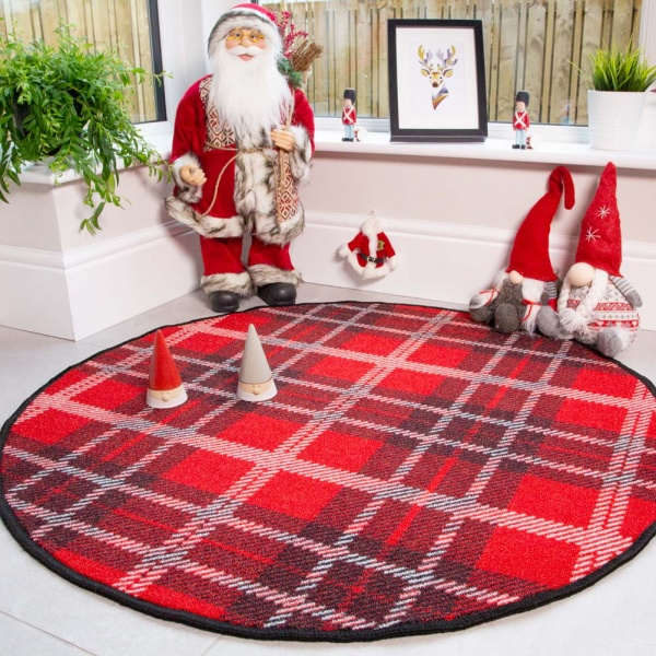 Circle Round Red Tartan Christmas Tree Base Mat - Luna