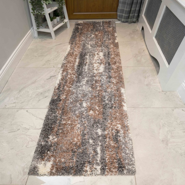Brown Grey Distressed Mottled Shaggy Hall Runner Rug - Murano