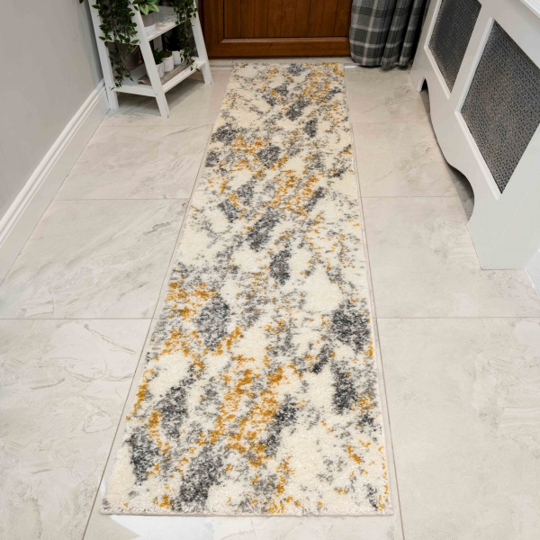 Abstract Yellow Mottled Shaggy Hall Runner Rug - Murano