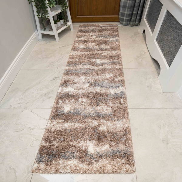 Brown Grey Cloud Mottled Shaggy Hall Runner Rug - Murano
