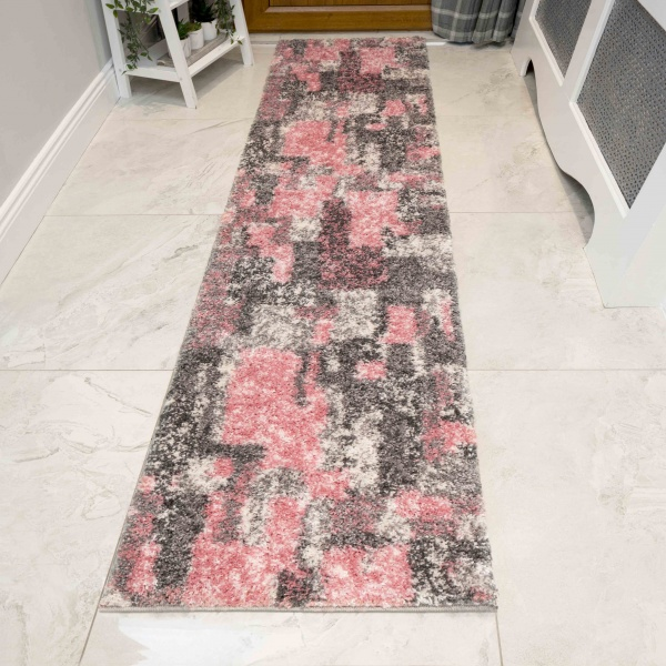 Retro Pink Mottled Shaggy Hall Runner Rug - Murano