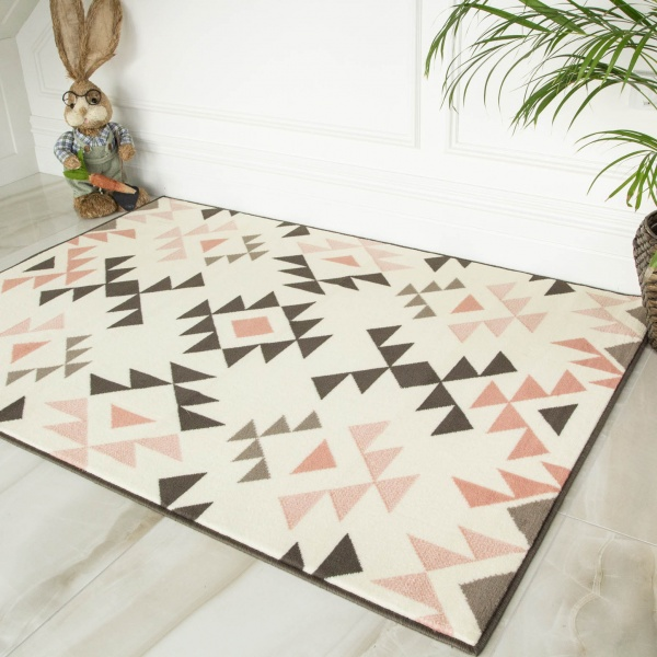 Soft Pink Aztec Tribal Living Room Rugs - Milan