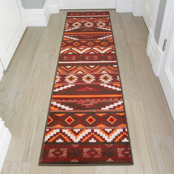 Red and Terracotta Aztec Runner Rug - Milan