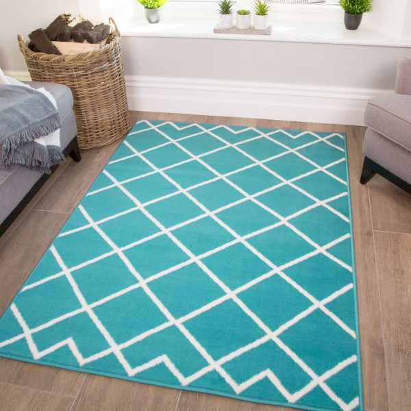Blue Trellis Kids Bedroom Rug - Milan Junior