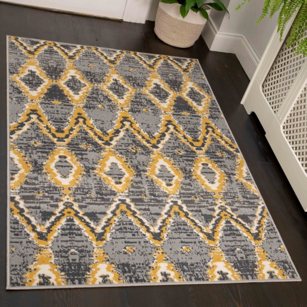 Abstract Yellow Hall Runner Room Rugs - Soho