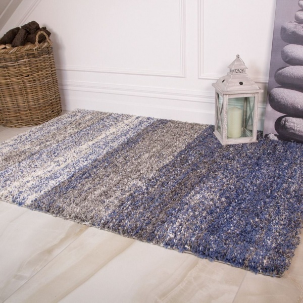 Blue Ombre Stripe Shaggy Rug for Living Room - Murano