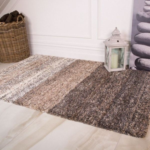 Natural Stripe Shaggy Rug for Living Room - Murano