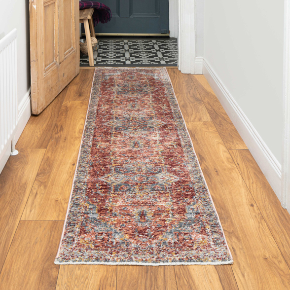 Soft Warm Terracotta Traditional Distressed Rug - Mystic