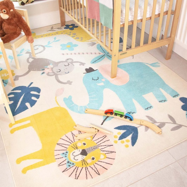 Fun Jungle Wildlife Soft Kids Bedroom Rugs  - Nino