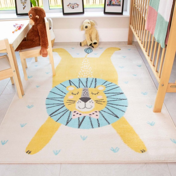 Bright Sleeping Lion Soft Kids Bedroom Rugs  - Nino