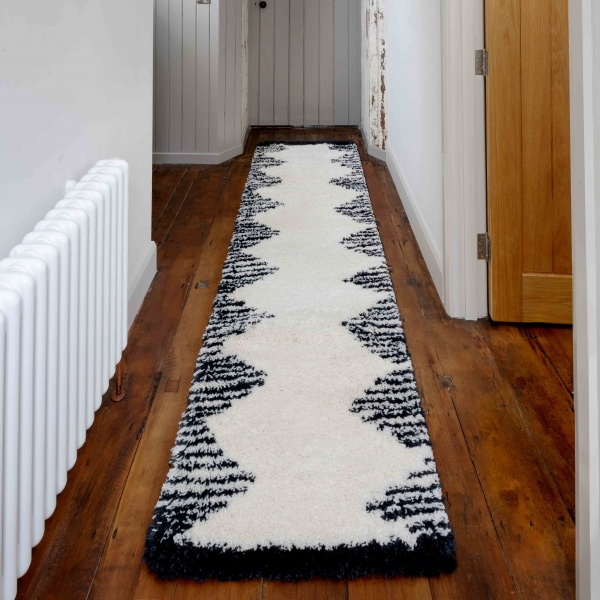 Soft Scandi Berber Moroccan Tribal Shaggy Hall Runner Rugs - Nivala