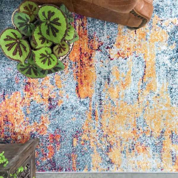 Gold Blue Distressed Living Room Rug - Oscar