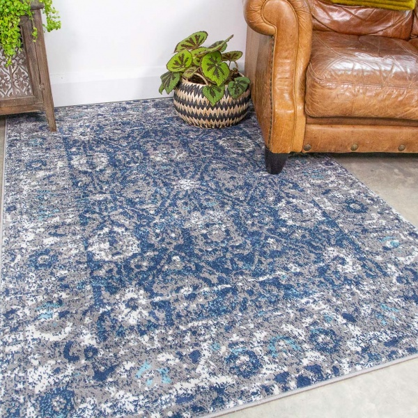 Faded Distressed Navy Oriental Pattern Rug - Oscar