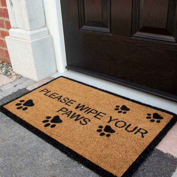 Dog Paw Print Coir Outdoor Entrance Doormat - Coir