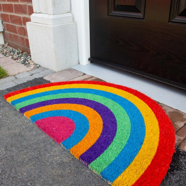 Rainbow Half Moon Coir Outdoor Entrance Doormat - Coir