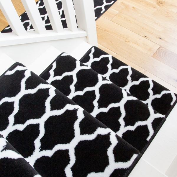 Black Trellis Stair Carpet Runner - Cut to Measure