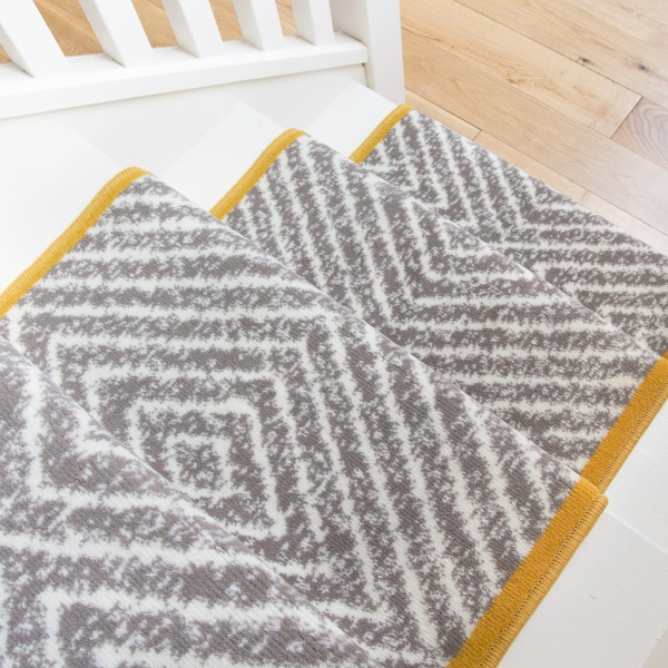 Beige Diamond Print Stair Carpet Runner - Cut to Measure