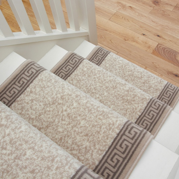 Cream Bordered Stair Carpet Runner - Cut to Measure