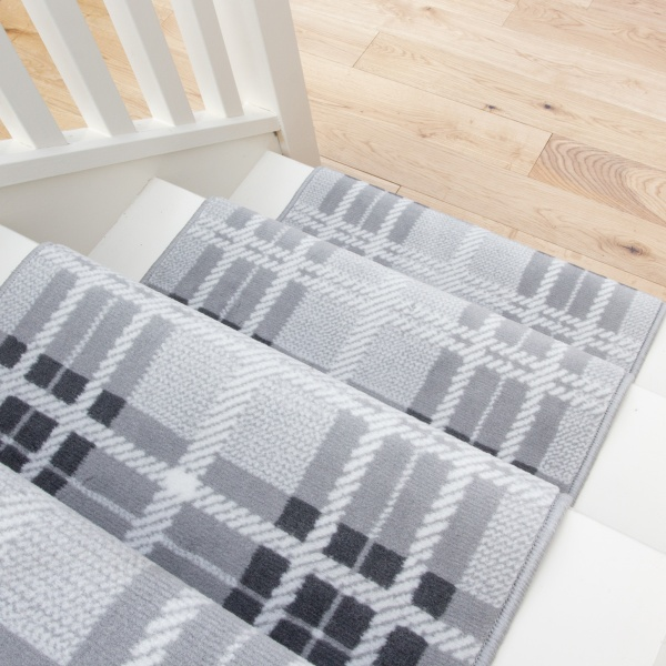 Grey Tartan Print Stair Carpet Runner - Cut to Measure