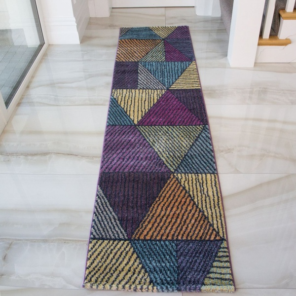 Yellow Teal Geometric Runner Rug - Vivid
