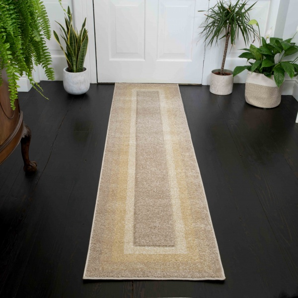Soft Layered Bordered Tonal Natural Beige Hall Runner Rugs - Westland