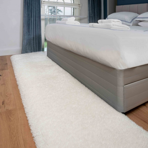 Deluxe Thick Soft Cream Shaggy Hall Runner Rug - Whistler