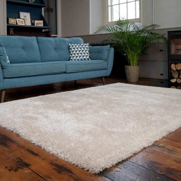 Deluxe Thick Soft Beige Shaggy Living Room Rug - Whistler