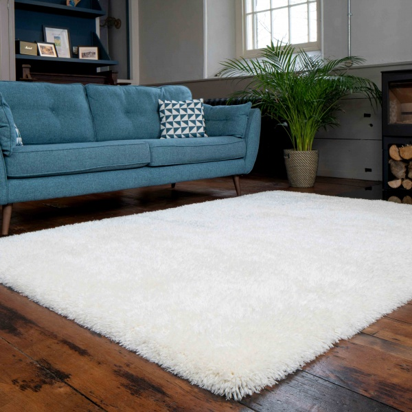 Deluxe Thick Soft Cream Shaggy Living Room Rug - Whistler