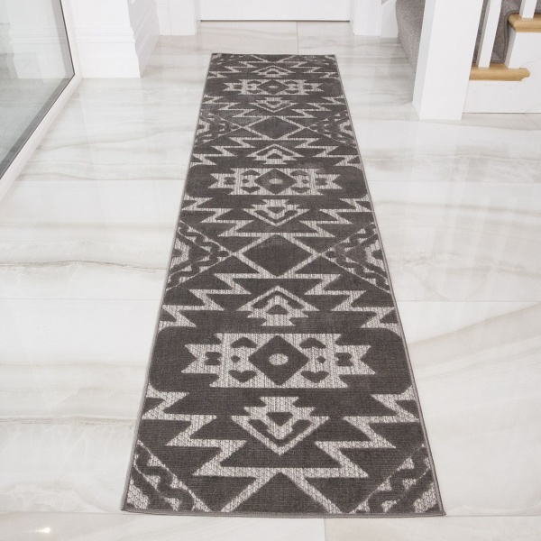 Grey Aztec Soft Textured Outdoor Grey Runner Rug - Zen