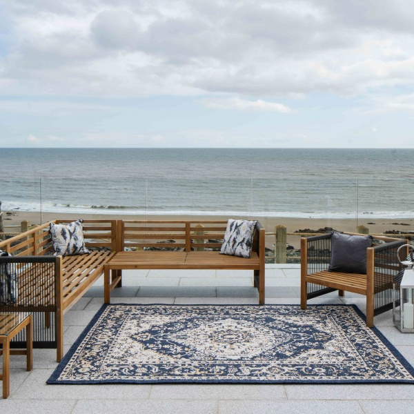 Navy Blue Distressed Weatherproof Outdoor Garden Rug - Adana