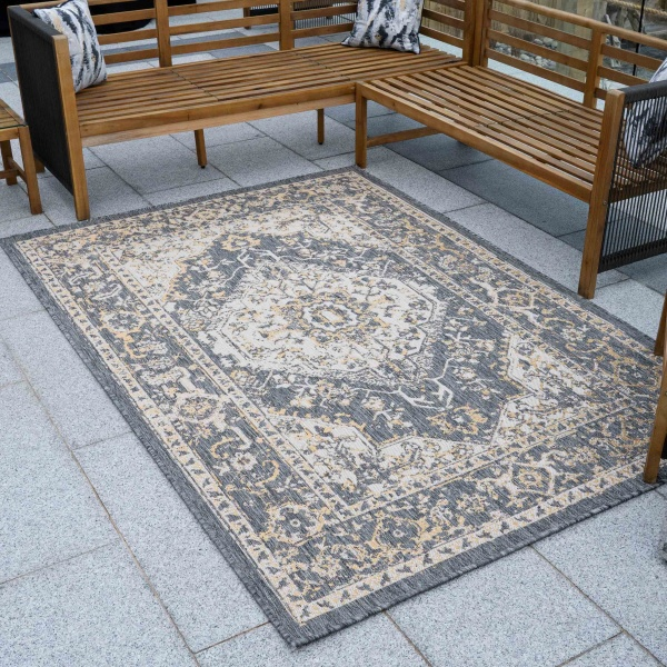 Grey Gold Distressed Weatherproof Outdoor Garden Rug - Adana