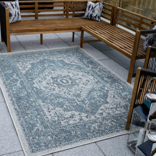 Teal Distressed Weatherproof Outdoor Garden Rug - Adana