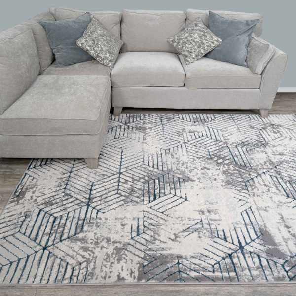 Modern Blue Abstract Geometric Living Room Rugs - Hatton
