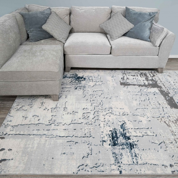 Modern Blue Abstract Distressed Living Room Rugs - Hatton