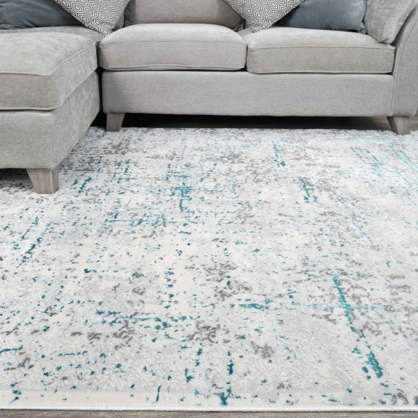 Modern Abstract Distressed Rugs in Blue Aqua - Hatton