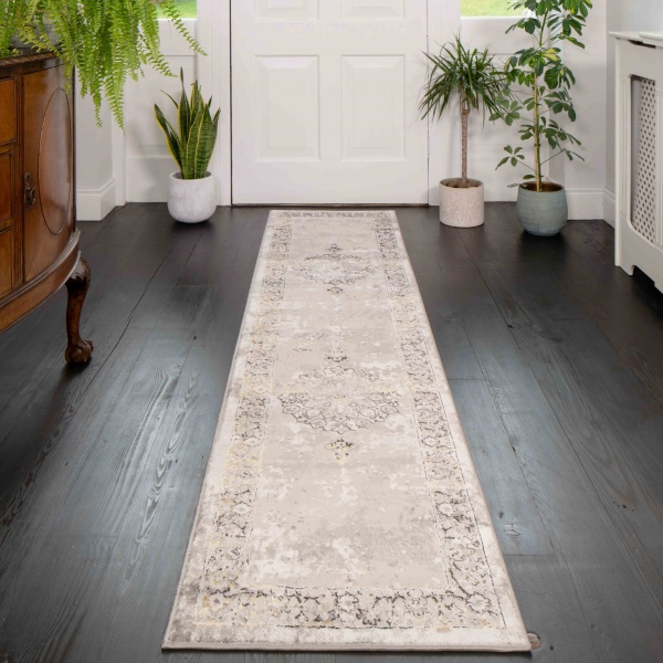 Gold Traditional Distressed Hall Runner Rugs - Hatton