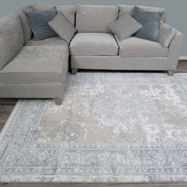 Blue Traditional Distressed Large Dining Table Rugs - Hatton
