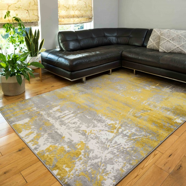 Modern Yellow Ochre Distressed Large Living Room Rugs - Enzo