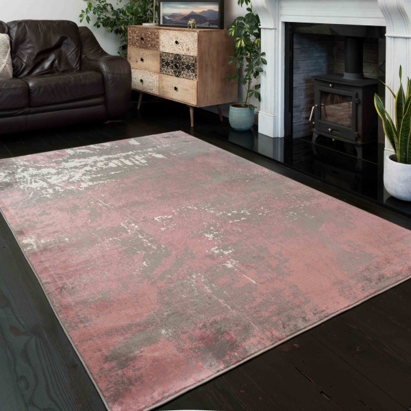 Modern Blush Pink Distressed Large Living Room Rugs - Enzo