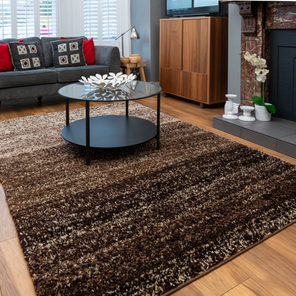 Brown Striped Mottled Shaggy Living Room Rug - Murano