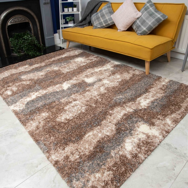 Brown Grey Cloud Mottled Shaggy Living Room Rug - Murano