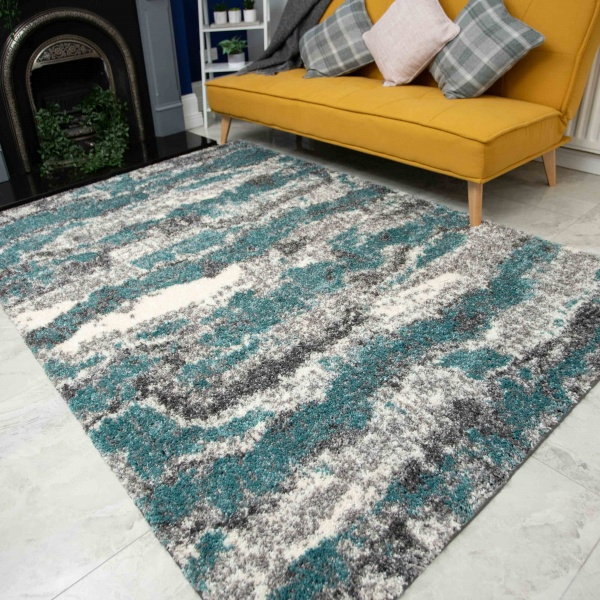 Blue Grey Cloud Mottled Shaggy Living Room Rug - Murano