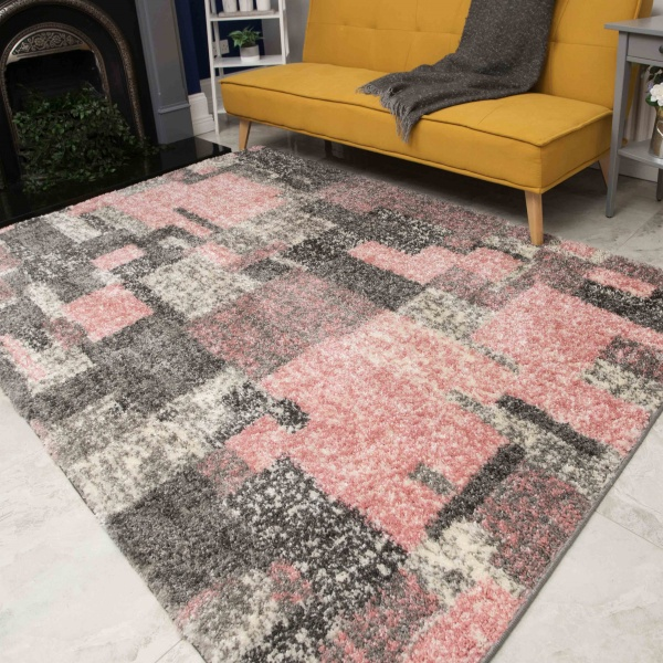 Retro Pink Mottled Shaggy Living Room Rug - Murano